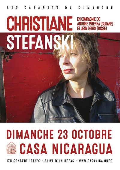 Dim. 23/10: Les cabarets du dimanche: CHRISTIANE STEFANSKI
