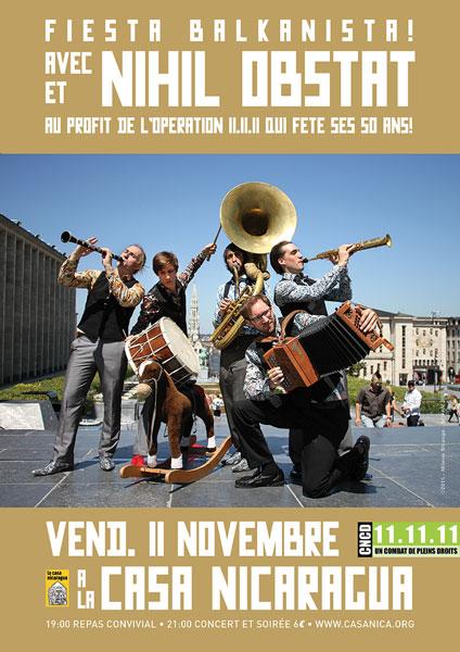 Vend. 11/11: NIHIL OBSTAT (Balkan/Klezmer) et l'Opération 11.11.11